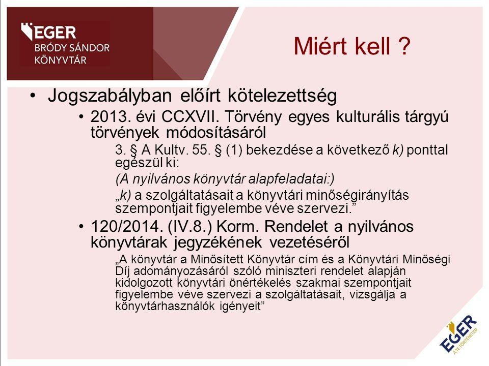 Miért kell ? Jogszabályban előírt kötelezettség 2013. évi CCXVII. Törvény egyes kulturális tárgyú törvények módosításáról 3. § A Kultv. 55. § (1) beke