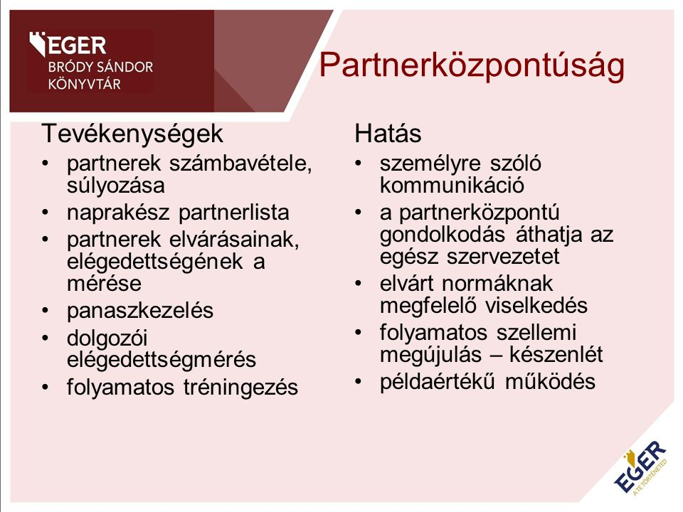 Partnerközpontúság Tevékenységek partnerek számbavétele, súlyozása naprakész partnerlista partnerek elvárásainak, elégedettségének a mérése panaszkeze