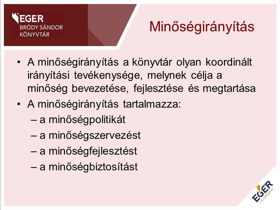 Minőségirányítás A minőségirányítás a könyvtár olyan koordinált irányítási tevékenysége, melynek célja a minőség bevezetése, fejlesztése és megtartása