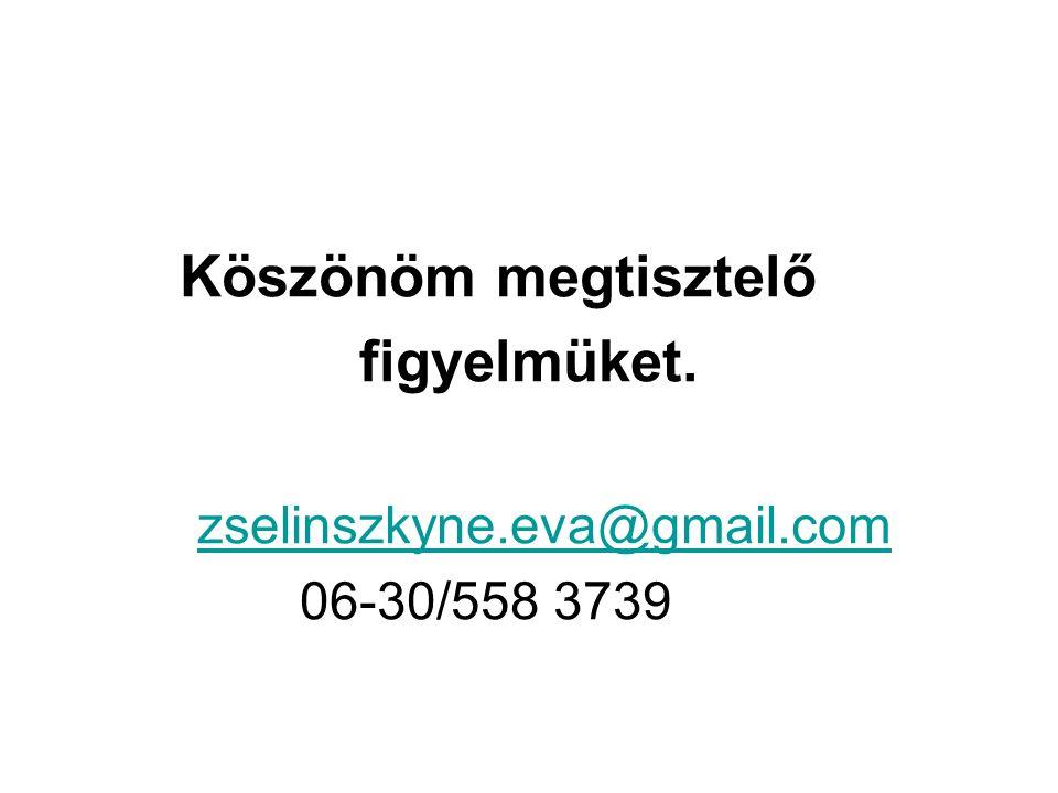 Köszönöm megtisztelő figyelmüket. zselinszkyne.eva@gmail.com 06-30/558 3739