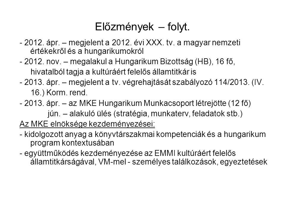 Előzmények – folyt. - 2012. ápr. – megjelent a 2012. évi XXX. tv. a magyar nemzeti értékekről és a hungarikumokról - 2012. nov. – megalakul a Hungarik