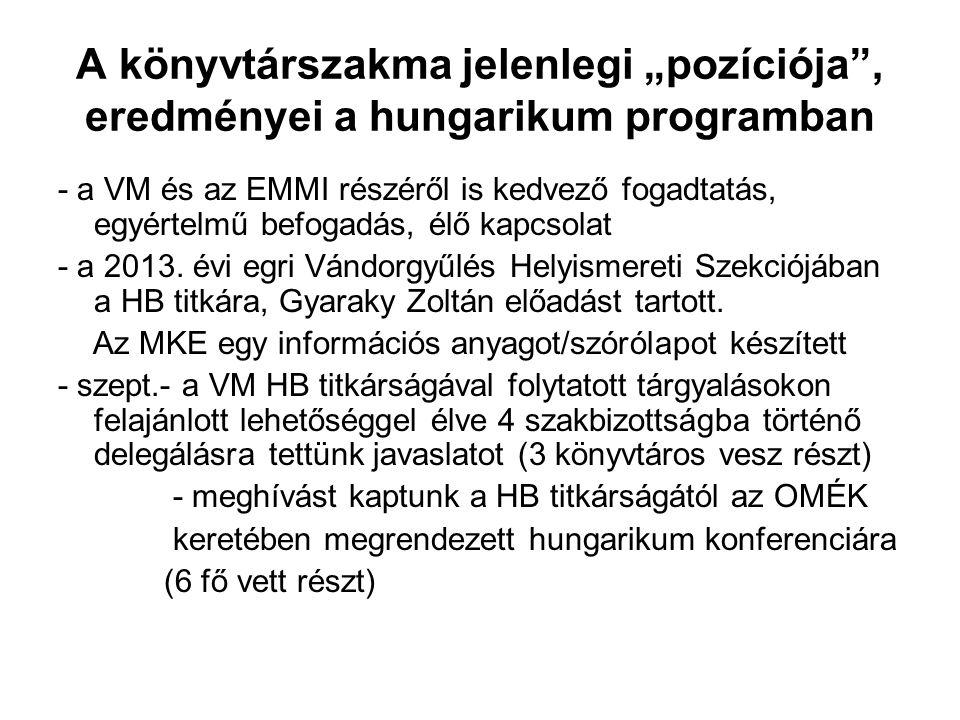 """A könyvtárszakma jelenlegi """"pozíciója , eredményei a hungarikum programban - a VM és az EMMI részéről is kedvező fogadtatás, egyértelmű befogadás, élő kapcsolat - a 2013."""