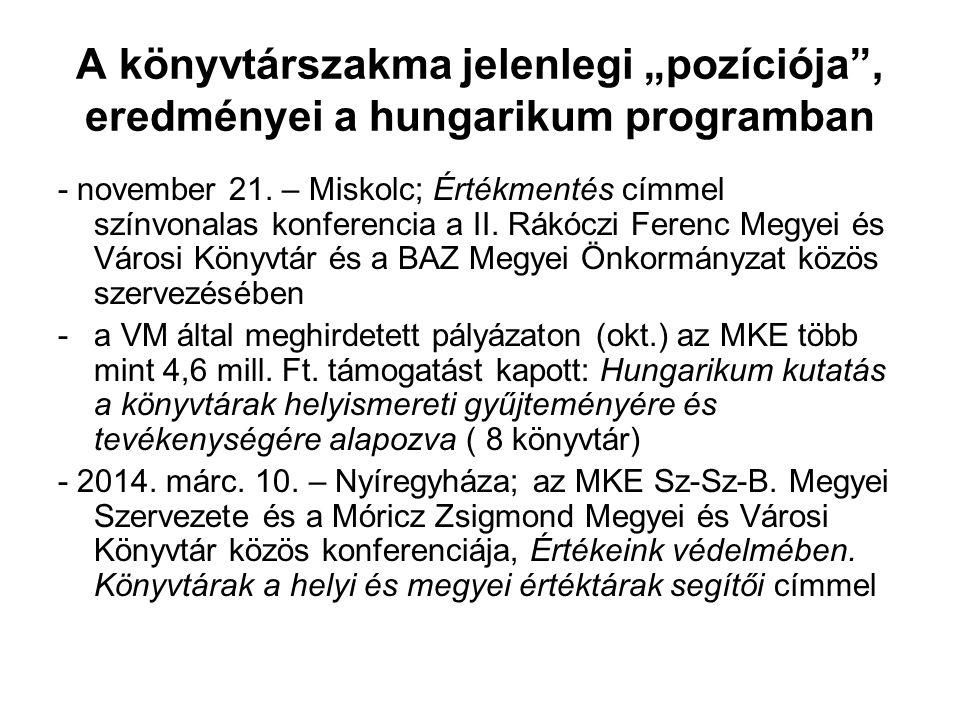 """A könyvtárszakma jelenlegi """"pozíciója , eredményei a hungarikum programban - november 21."""