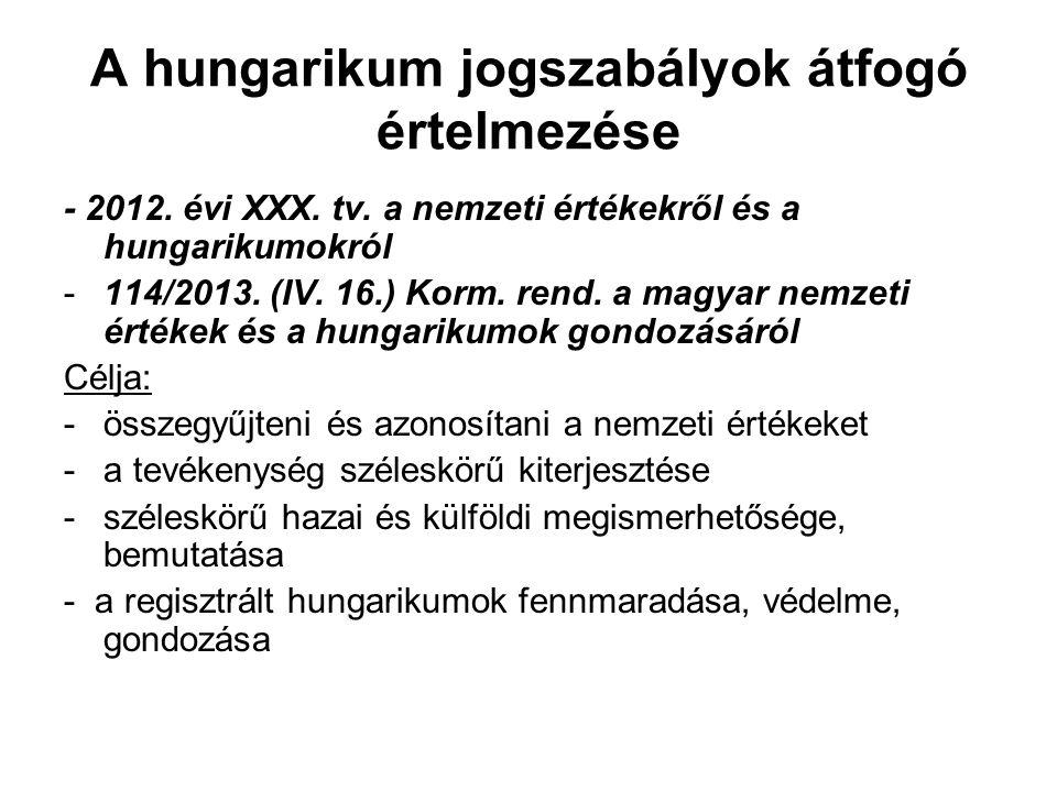 A hungarikum jogszabályok átfogó értelmezése - 2012. évi XXX. tv. a nemzeti értékekről és a hungarikumokról -114/2013. (IV. 16.) Korm. rend. a magyar