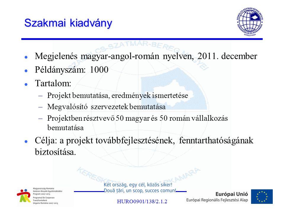 Szakmai kiadvány Megjelenés magyar-angol-román nyelven, 2011. december Példányszám: 1000 Tartalom: –Projekt bemutatása, eredmények ismertetése –Megval