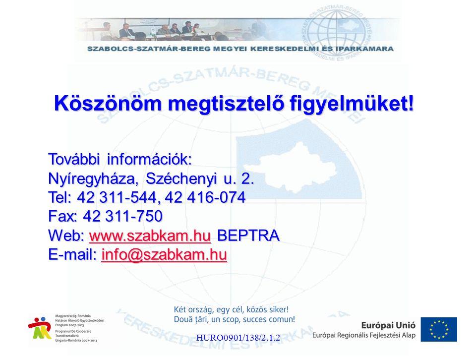 Köszönöm megtisztelő figyelmüket! További információk: Nyíregyháza, Széchenyi u. 2. Tel: 42 311-544, 42 416-074 Fax: 42 311-750 Web: www.szabkam.hu BE