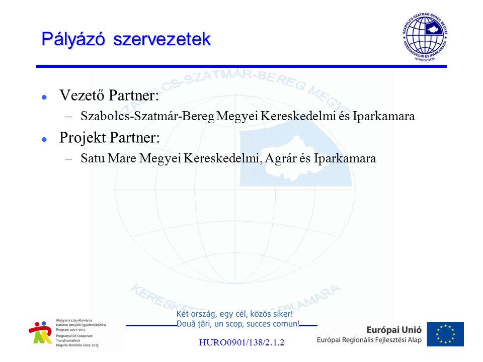 Pályázó szervezetek Vezető Partner: –Szabolcs-Szatmár-Bereg Megyei Kereskedelmi és Iparkamara Projekt Partner: –Satu Mare Megyei Kereskedelmi, Agrár és Iparkamara HURO0901/138/2.1.2