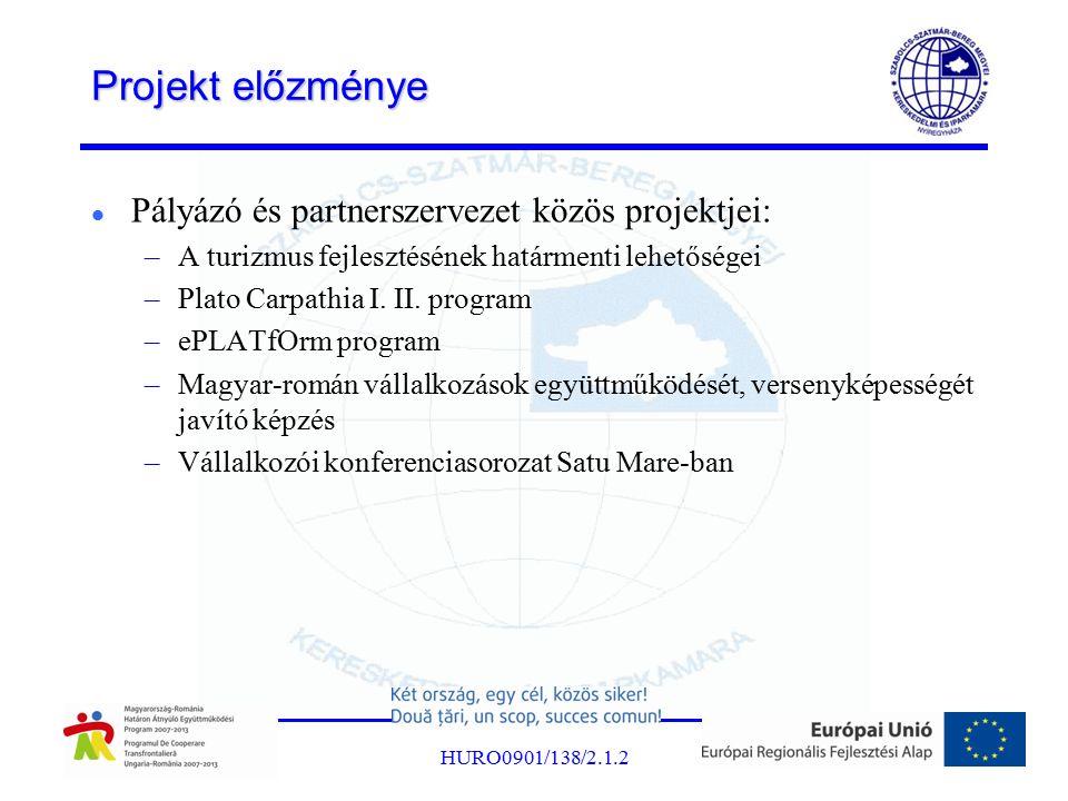 Projekt előzménye Pályázó és partnerszervezet közös projektjei: –A turizmus fejlesztésének határmenti lehetőségei –Plato Carpathia I. II. program –ePL