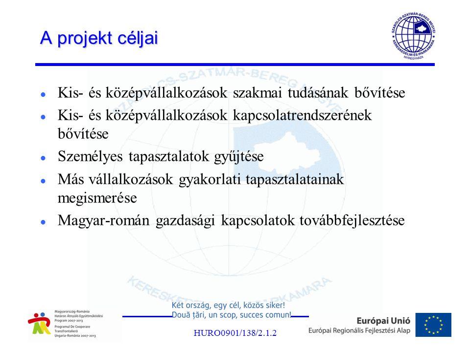 A projekt céljai Kis- és középvállalkozások szakmai tudásának bővítése Kis- és középvállalkozások kapcsolatrendszerének bővítése Személyes tapasztalatok gyűjtése Más vállalkozások gyakorlati tapasztalatainak megismerése Magyar-román gazdasági kapcsolatok továbbfejlesztése HURO0901/138/2.1.2