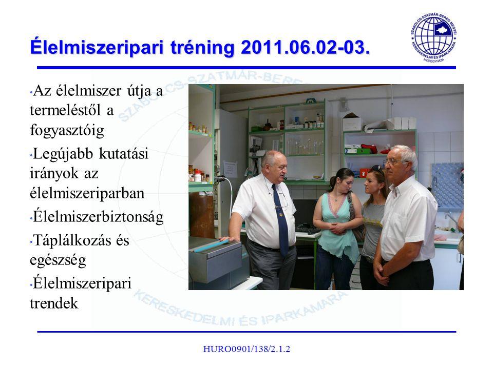 Élelmiszeripari tréning 2011.06.02-03. Az élelmiszer útja a termeléstől a fogyasztóig Legújabb kutatási irányok az élelmiszeriparban Élelmiszerbiztons