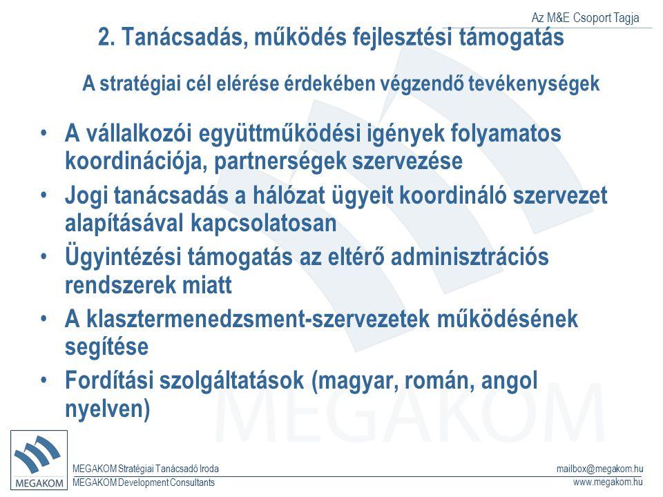 Az M&E Csoport Tagja MEGAKOM Stratégiai Tanácsadó Iroda www.megakom.hu MEGAKOM Development Consultants mailbox@megakom.hu 2. Tanácsadás, működés fejle