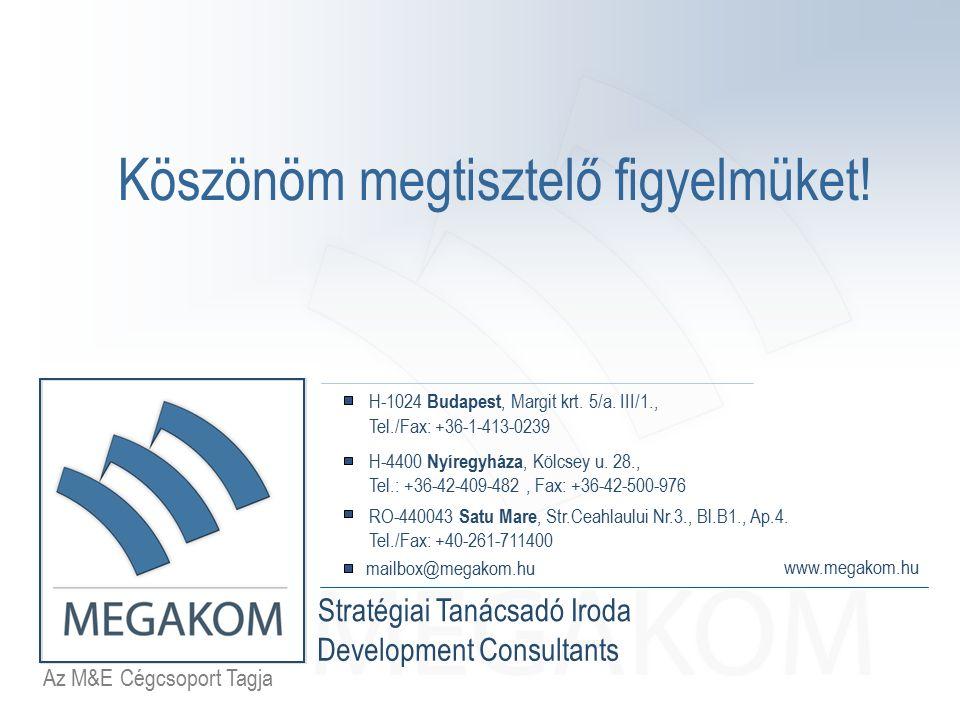 Az M&E Cégcsoport Tagja Stratégiai Tanácsadó Iroda www.megakom.hu H-1024 Budapest, Margit krt. 5/a. III/1., Tel./Fax: +36-1-413-0239 H-4400 Nyíregyház