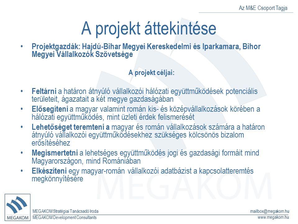 Az M&E Csoport Tagja MEGAKOM Stratégiai Tanácsadó Iroda www.megakom.hu MEGAKOM Development Consultants mailbox@megakom.hu A projekt áttekintése Projek