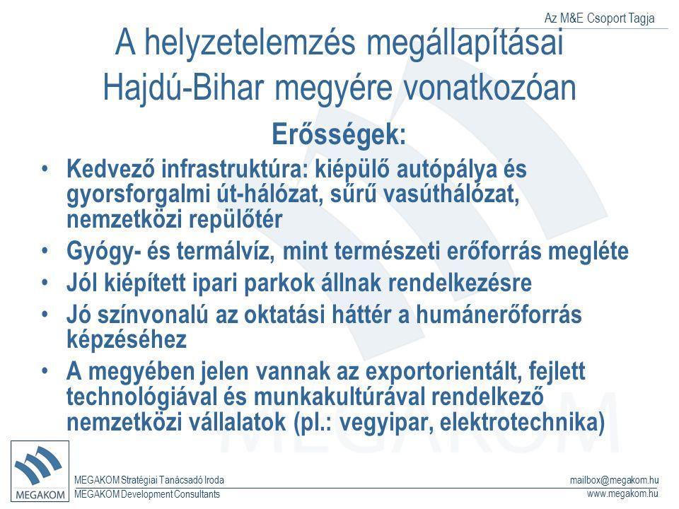 Az M&E Csoport Tagja MEGAKOM Stratégiai Tanácsadó Iroda www.megakom.hu MEGAKOM Development Consultants mailbox@megakom.hu A helyzetelemzés megállapítá