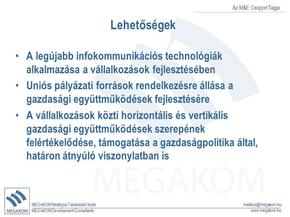 Az M&E Csoport Tagja MEGAKOM Stratégiai Tanácsadó Iroda www.megakom.hu MEGAKOM Development Consultants mailbox@megakom.hu Veszélyek: Képzett munkaerő elvándorlásának fokozódása (a megfelelő minőségű munkahelyek hiánya és az alacsonyabb kereseti lehetőségek következtében) A megyén belüli területi különbségek további növekedése A vállalkozók által igényelhető hitelkonstrukciók feltételeinek szigorodása A vállalkozások fejlesztésre fordítható pénzügyi eszközeinek csökkenése A kereslet tartós visszaesése a lokális és globális piacokon