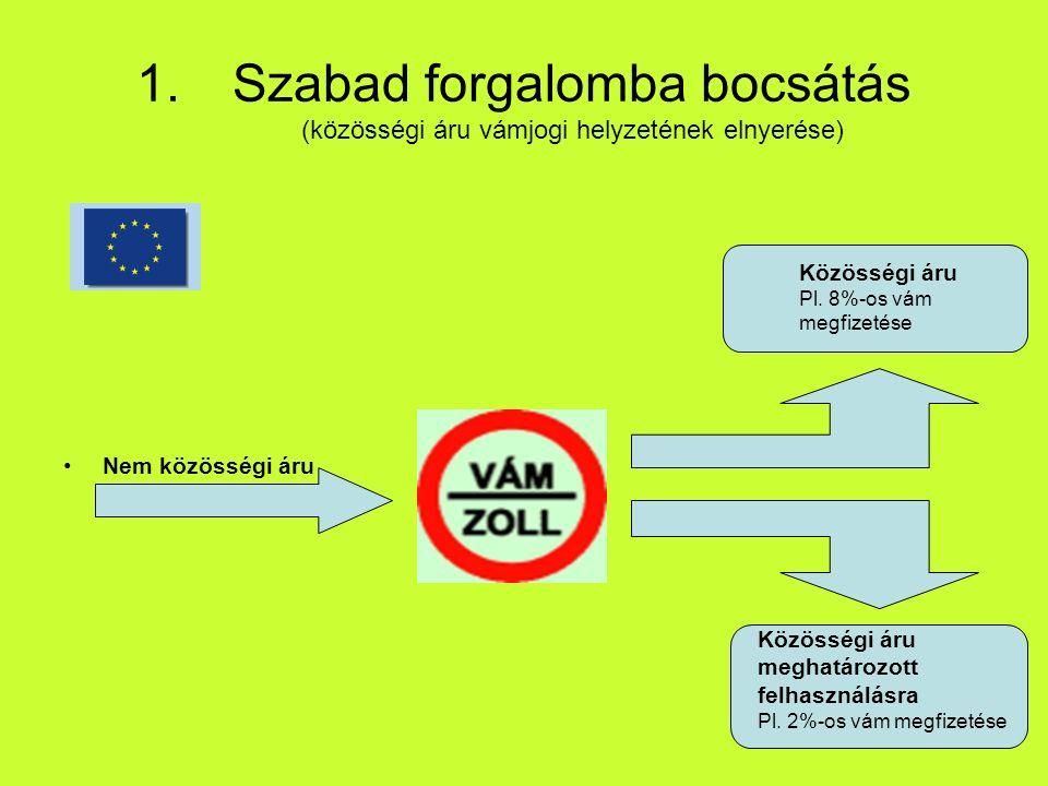 1.Szabad forgalomba bocsátás (közösségi áru vámjogi helyzetének elnyerése) Nem közösségi áru Közösségi áru Pl.