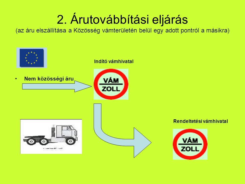 2. Árutovábbítási eljárás (az áru elszállítása a Közösség vámterületén belül egy adott pontról a másikra) Nem közösségi áru Indító vámhivatal Rendelte