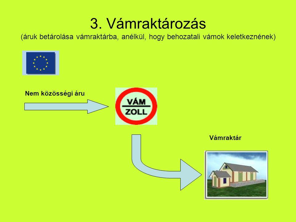 3. Vámraktározás (áruk betárolása vámraktárba, anélkül, hogy behozatali vámok keletkeznének) Nem közösségi áru Vámraktár