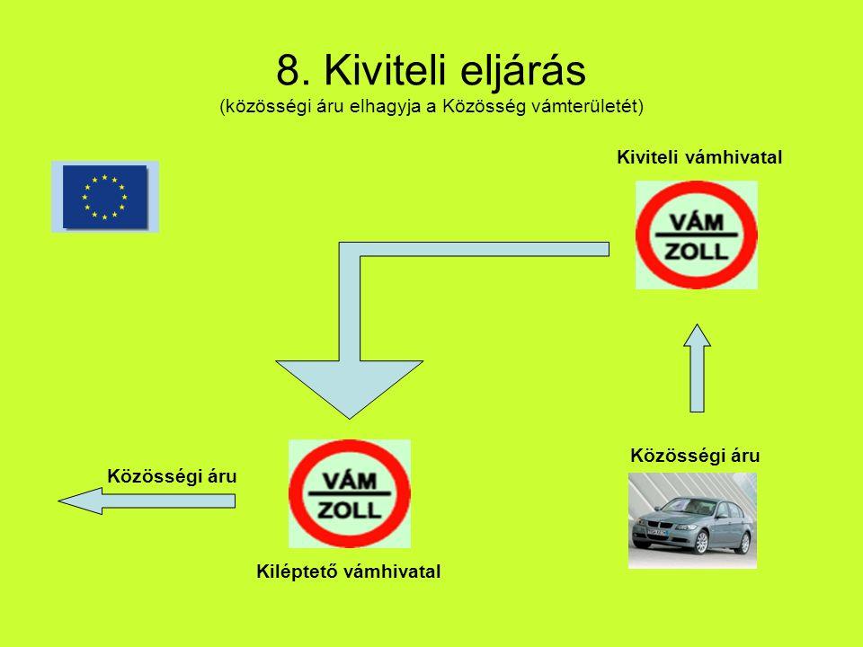 8. Kiviteli eljárás (közösségi áru elhagyja a Közösség vámterületét) Közösségi áru Kiviteli vámhivatal Kiléptető vámhivatal Közösségi áru