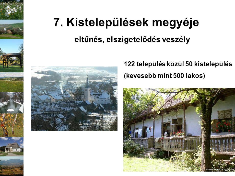 7. Kistelepülések megyéje 122 település közül 50 kistelepülés (kevesebb mint 500 lakos) eltűnés, elszigetelődés veszély