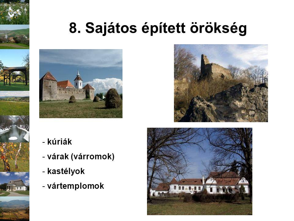 8. Sajátos épített örökség - kúriák - várak (várromok) - kastélyok - vártemplomok