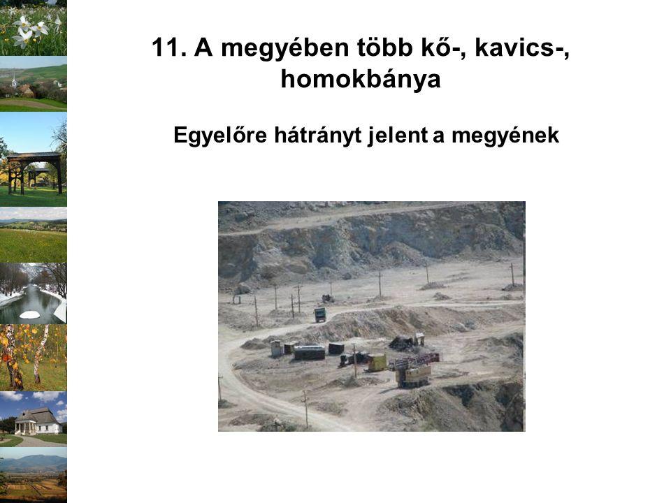 11. A megyében több kő-, kavics-, homokbánya Egyelőre hátrányt jelent a megyének