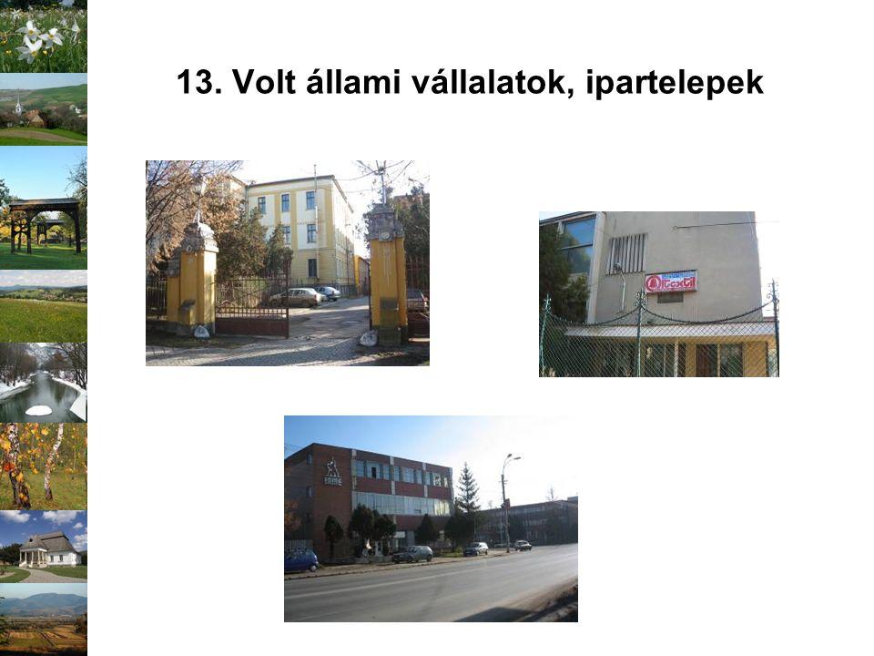 13. Volt állami vállalatok, ipartelepek