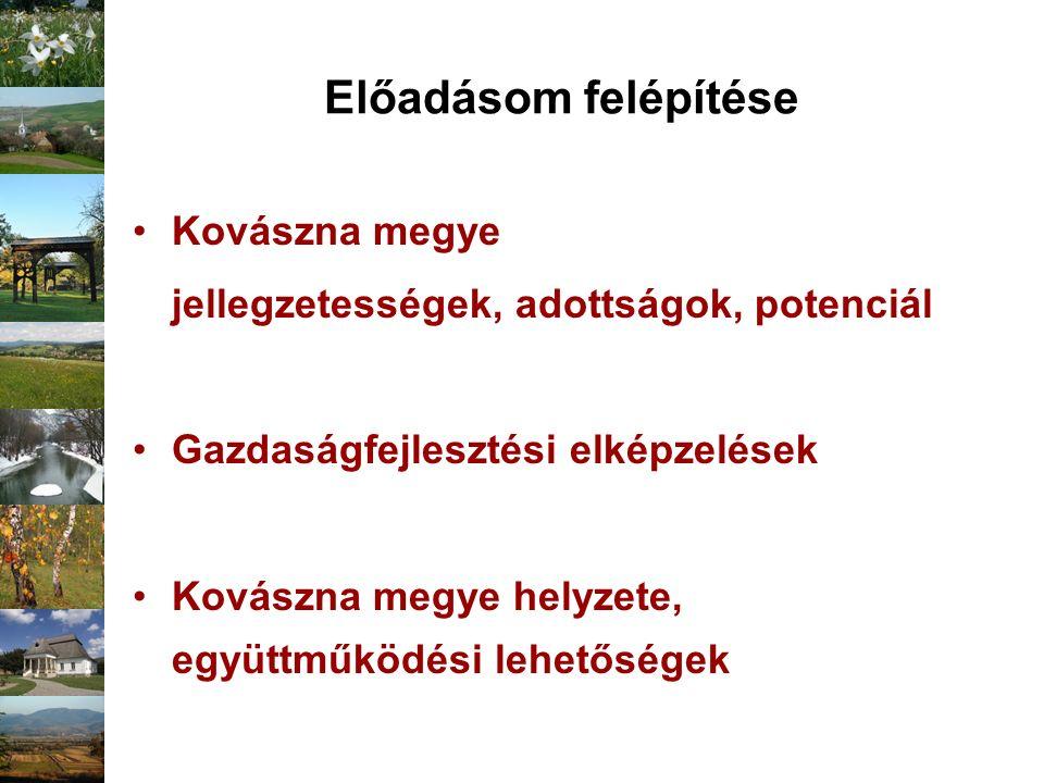Előadásom felépítése Kovászna megye jellegzetességek, adottságok, potenciál Gazdaságfejlesztési elképzelések Kovászna megye helyzete, együttműködési l