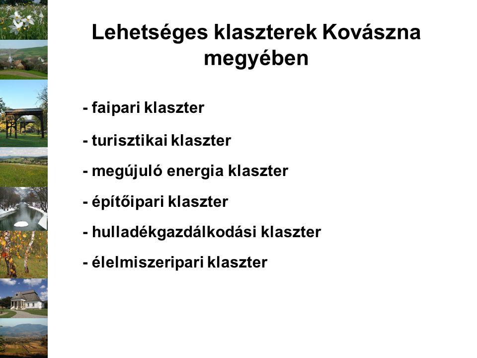 Lehetséges klaszterek Kovászna megyében - faipari klaszter - turisztikai klaszter - megújuló energia klaszter - építőipari klaszter - hulladékgazdálko