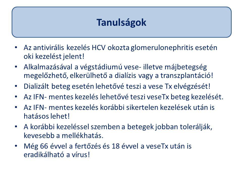 Az antivirális kezelés HCV okozta glomerulonephritis esetén oki kezelést jelent.