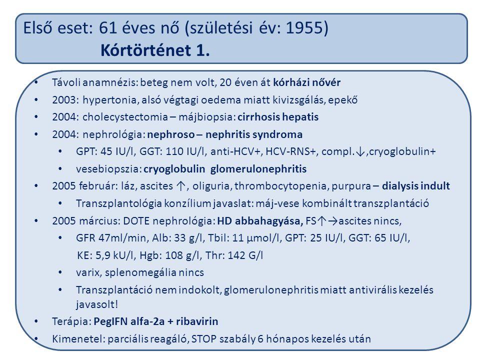Első eset: 61 éves nő (születési év: 1955) Kórtörténet 1.