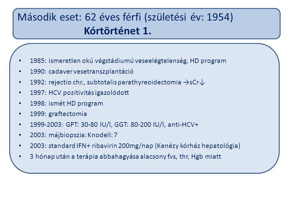 Második eset: 62 éves férfi (születési év: 1954) Kórtörténet 1.
