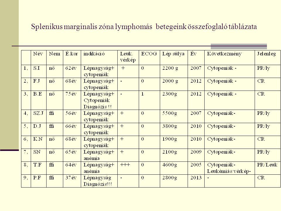Splenikus marginalis zóna lymphomás betegeink összefoglaló táblázata