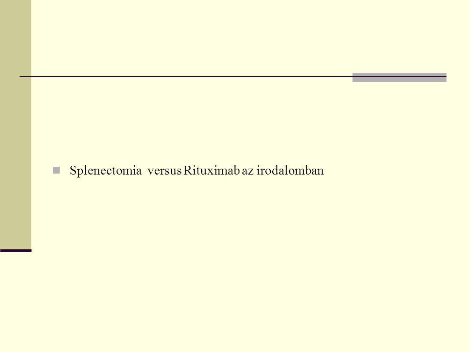 Splenikus marginalis zóna lymphomás betegeink Rituximab nem indikált Magyarországon SMZL-ben Splenectomia ma is jónak látszik
