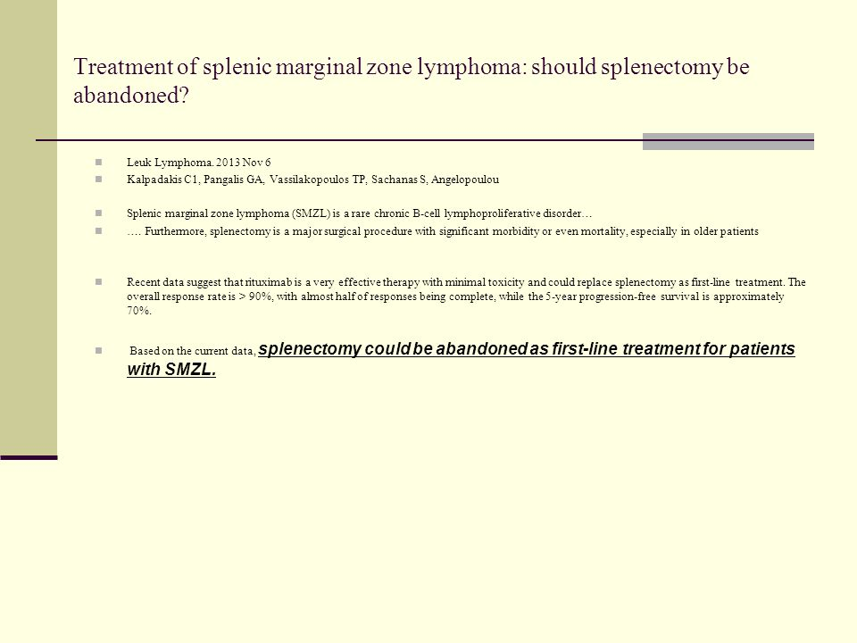 Long-term follow-up analysis of 100 patients with splenic marginal zone lymphoma treated with splenectomy as first-line treatment.