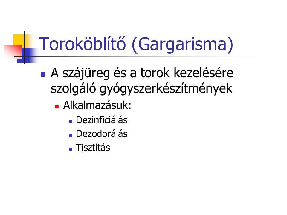 Toroköblítő (Gargarisma) A szájüreg és a torok kezelésére szolgáló gyógyszerkészítmények Alkalmazásuk: Dezinficiálás Dezodorálás Tisztítás
