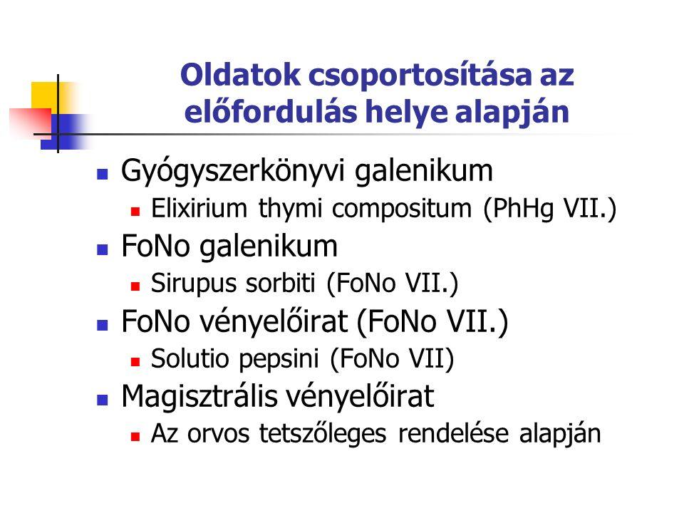Oldatok csoportosítása az előfordulás helye alapján Gyógyszerkönyvi galenikum Elixirium thymi compositum (PhHg VII.) FoNo galenikum Sirupus sorbiti (FoNo VII.) FoNo vényelőirat (FoNo VII.) Solutio pepsini (FoNo VII) Magisztrális vényelőirat Az orvos tetszőleges rendelése alapján