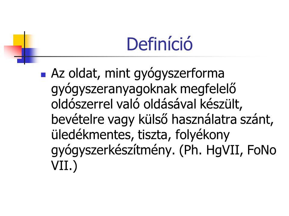 Definíció Az oldat, mint gyógyszerforma gyógyszeranyagoknak megfelelő oldószerrel való oldásával készült, bevételre vagy külső használatra szánt, üledékmentes, tiszta, folyékony gyógyszerkészítmény.