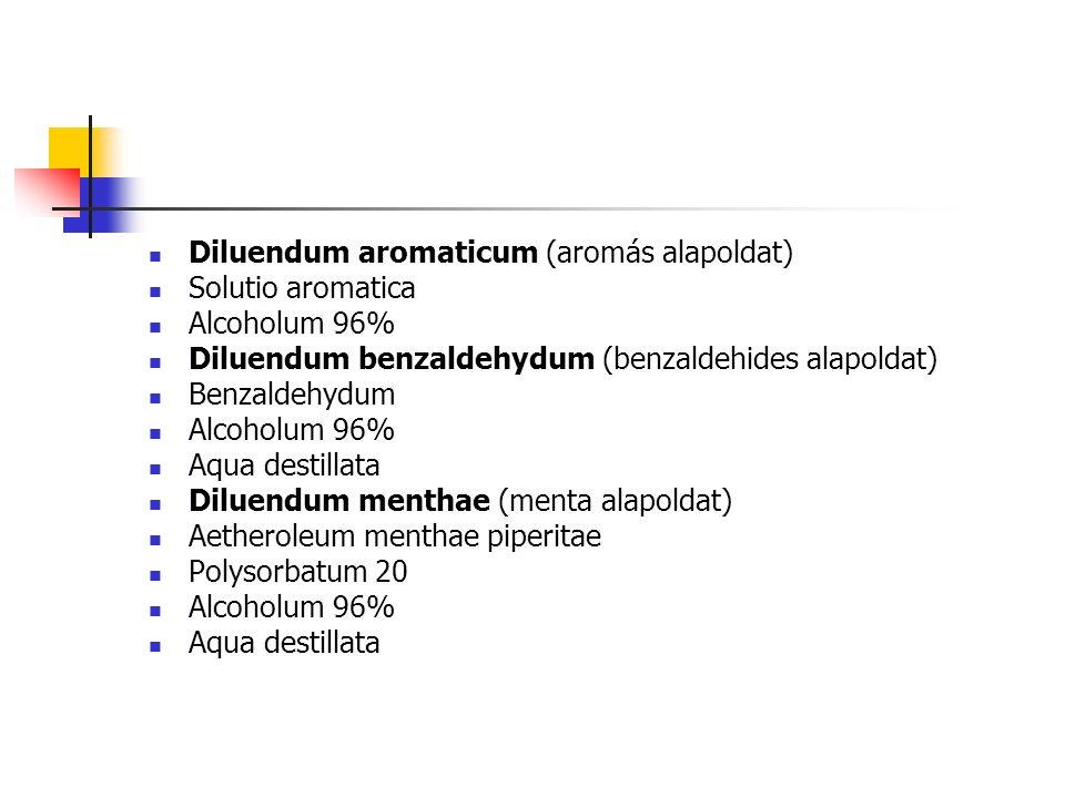 Diluendum aromaticum (aromás alapoldat) Solutio aromatica Alcoholum 96% Diluendum benzaldehydum (benzaldehides alapoldat) Benzaldehydum Alcoholum 96% Aqua destillata Diluendum menthae (menta alapoldat) Aetheroleum menthae piperitae Polysorbatum 20 Alcoholum 96% Aqua destillata