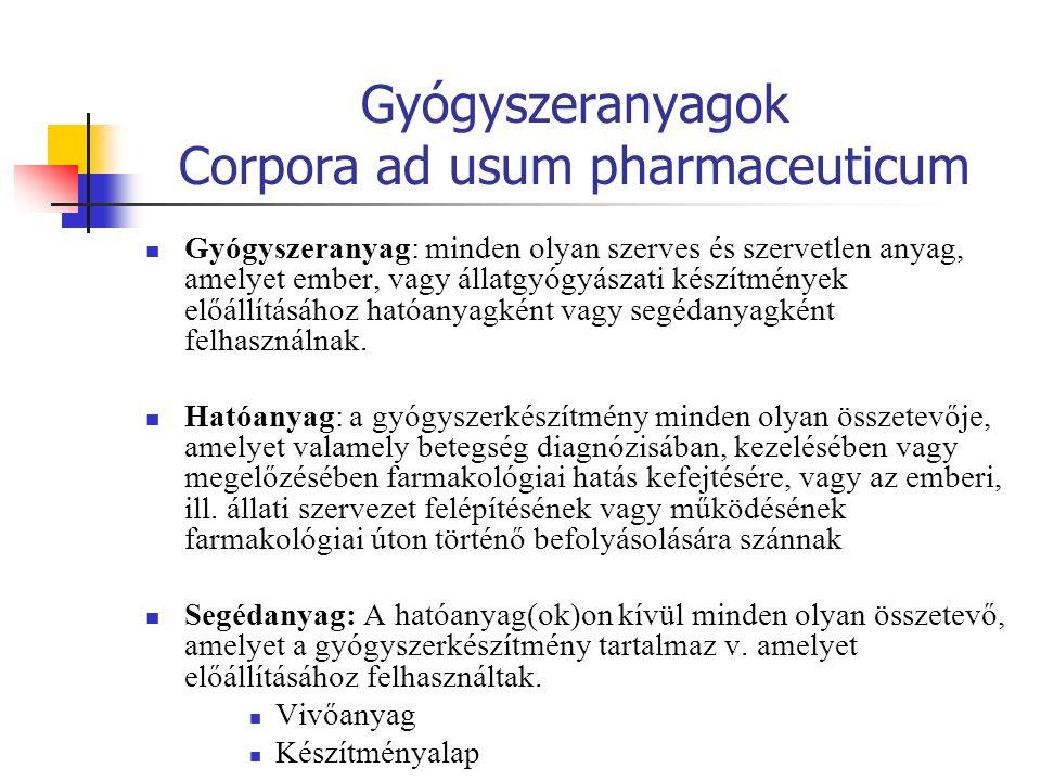 Gyógyszeranyagok Corpora ad usum pharmaceuticum Gyógyszeranyag: minden olyan szerves és szervetlen anyag, amelyet ember, vagy állatgyógyászati készítmények előállításához hatóanyagként vagy segédanyagként felhasználnak.