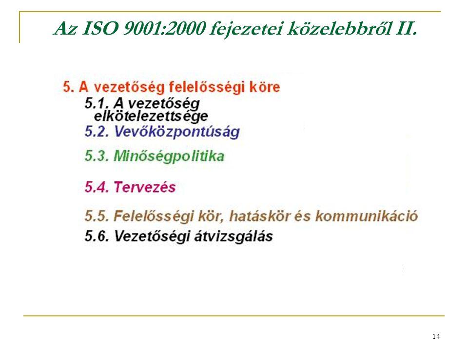 14 Az ISO 9001:2000 fejezetei közelebbről II.