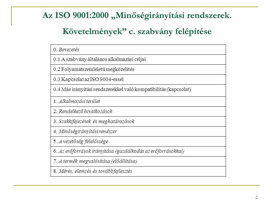 """2 Az ISO 9001:2000 """"Minőségirányítási rendszerek. Követelmények c."""