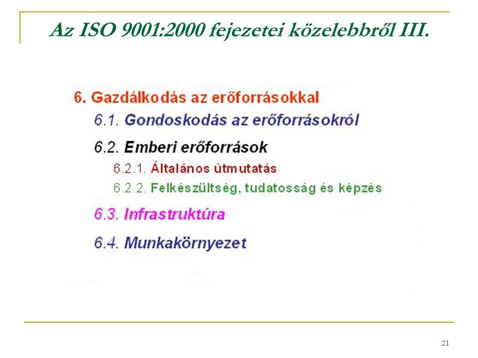 21 Az ISO 9001:2000 fejezetei közelebbről III.