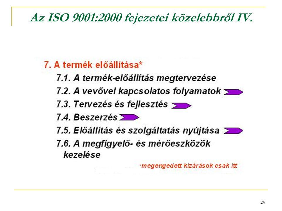 26 Az ISO 9001:2000 fejezetei közelebbről IV.