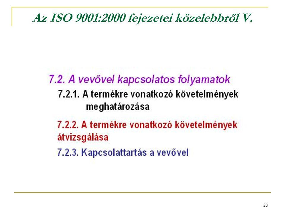 28 Az ISO 9001:2000 fejezetei közelebbről V.