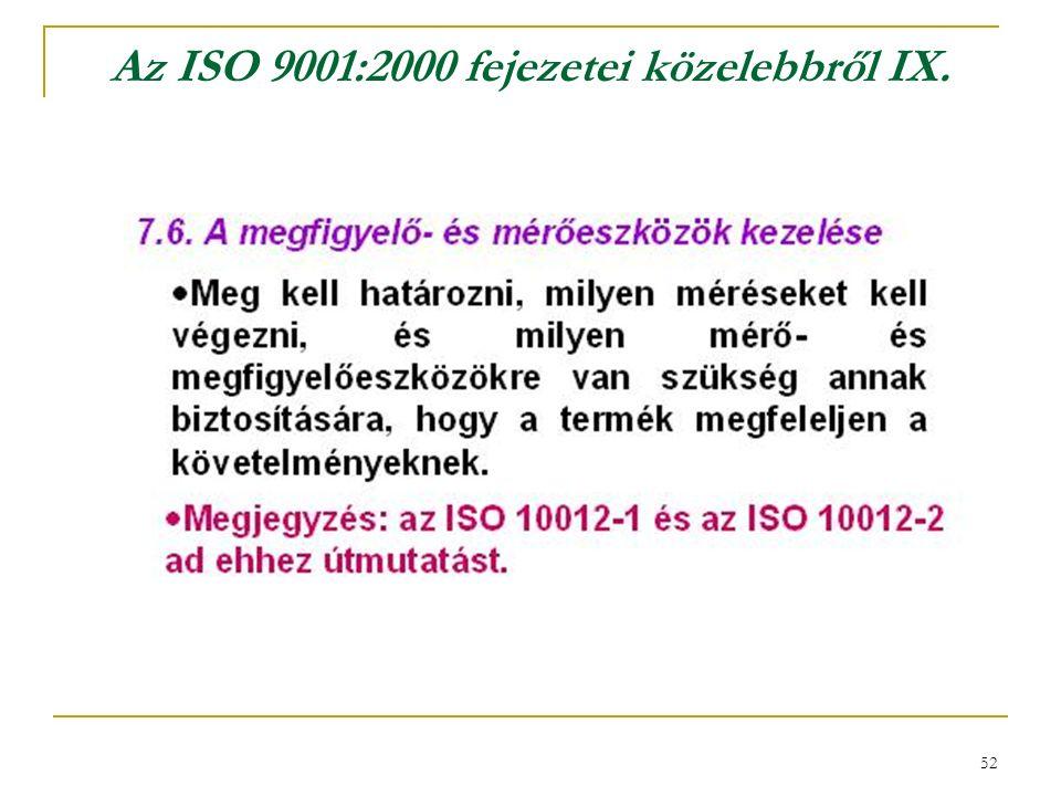 52 Az ISO 9001:2000 fejezetei közelebbről IX.