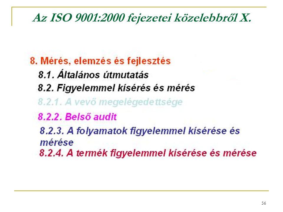 56 Az ISO 9001:2000 fejezetei közelebbről X.