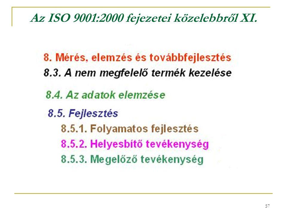 57 Az ISO 9001:2000 fejezetei közelebbről XI.