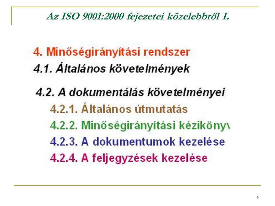 6 Az ISO 9001:2000 fejezetei közelebbről I.