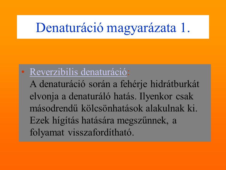 Reverzibilis, irreverzibilis denaturáció Reverzibilis (visszafordítható) denaturáció:  Könnyûfém sók (I. és II. csoport sói, vagy alkáli- és alkálifö